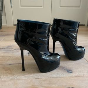 Saint Laurent platform patent leather booties